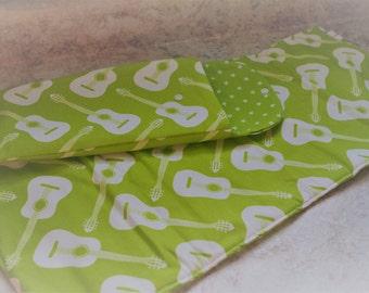 Newborn Diaper Changing Pad and Clutch in Green Guitars