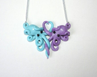 Intertwined Octopi in love Necklace,  blue and lavendar valentines day gift, anniversary, christmas, birthday,