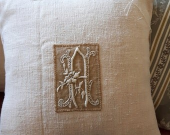 """Antique hand stitched """"A"""" monogram cushion made with antique French hemp, throw pillow, gift"""