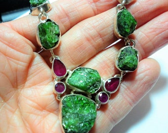 Green Chrome Diopside Nugget Necklace Rough Raw Genuine Diopside and Rubies in Sterling Silver Necklace w 8 Chrome Diopside Nuggets 4 Rubies