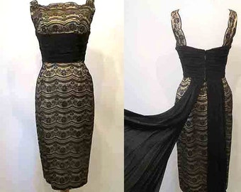 "Beautiful 1950's Gold Lurex and Black Lace Cocktail Dress shelf bust & chiffon ""Tail""pinup girl Hollywood chic Rockabilly VLV Size small"