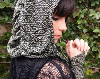 NEW The Hatchi Knit Ruched Hood in Sage Green or Charcoal Gray and Black by Opal Moon Designs (One Size Fits all)