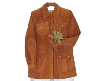 70s Suede Jacket * Vintage Leather Jacket * 1970s Boho Coat * Small