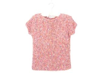 80s Sweater Shell * Texture Knit Top * Vintage Fiber Art Sweater * Medium
