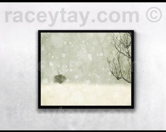 Winter Art Print- White Decor- Falling Snow- Neutral Rustic Wall Art - Nature Photography - Large Wall Art