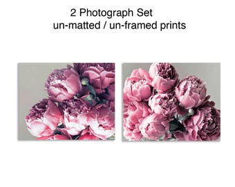 Peony Prints Set of 2 Prints Pink and Gray Wall Art 16x20 Prints Girl Nursery Decor Nature Photography Set