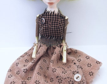 Art doll cloth clay wood bead jointed stick limbs hand sewn green hair
