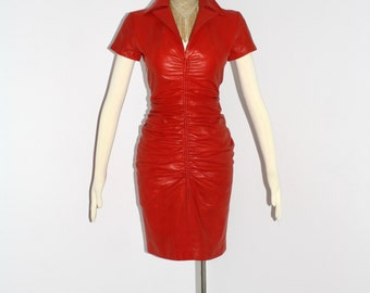 Vintage Dress Red Leather RANDOLPH DUKE Ruched Silk Lining