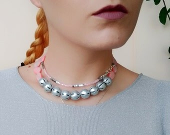 Long Beaded Necklace, Double Wrap Necklace, Pink Silver Boho Necklace