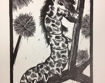 Giraffepillar Linocut Print