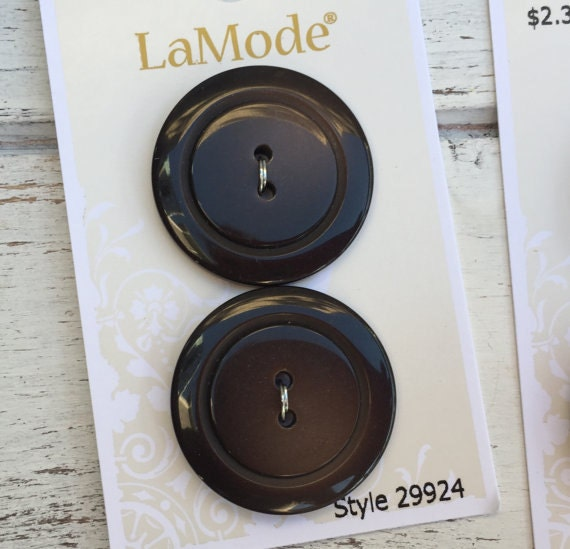 """Brown Buttons, 2 Hole, Two Tone Brown Buttons by LaMode, Style 29924, 1  1/8"""" (28mm),  Crafting, Sewing, Quilting, Carded Set of 2, Washable"""