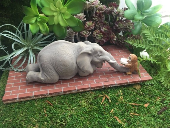 Elephant Figurine, Elephant and Owl Reading, Mini Elephant, Style 4566, Fairy Garden Accessory, Home & Garden Decor, Shelf Sitter, Topper