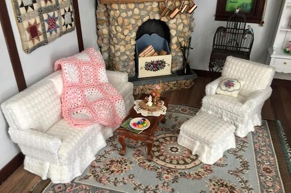 Miniature Living Room Set, White Sofa, Walnut Coffee Table, Armchair and Ottoman, Dollhouse Miniature Furniture, 1:12 Scale, 4 Pcs