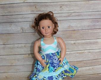 """18 inch Doll summer halter dress, fits 15-18"""" doll"""