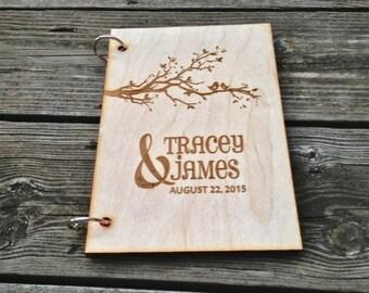 Wood Wedding Guest Book Birds in Tree Design Personalized Guest Book Rustic Wedding Guest Book Anniversary Wedding