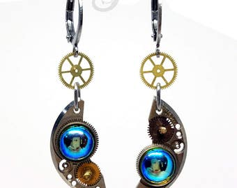 Steampunk Earrings ~ Gearrings ~ Watch Parts & Gears Titania AB Vintage Cabochons on Stainless Steel Circle Round Lever Back Earrings #E0916