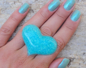 Turquoise Blue Glitter Heart Statement Ring, Blue Glitter Resin Heart Ring, Mermaid Blue Glitter Heart Ring, Glitter Fusion Original Ring