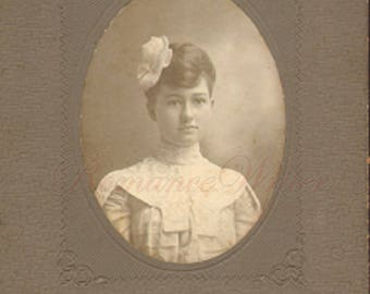 Teenage Girl Flower Hair Bow High Necked Dress Vintage Cabinet Card Photo