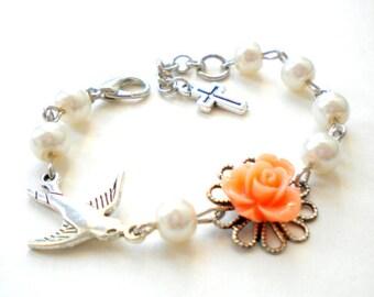 Baptism Gift For Goddaughter First Communion Bracelet Gift For Newborn Christening Bracelet Peach Flower Bracelet Baby Girl Pearl Bracelet