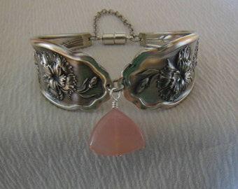 Carnations and Pink Chalcedony    Antique Fork Bracelet   8 inch
