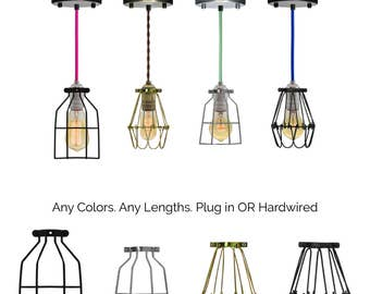Cage Pendant Any Color Custom Pendant Lamp Modern Industrial Pendant Light Chandelier- Hardwired or Plug In Swag Light Lamp Guard Lighting