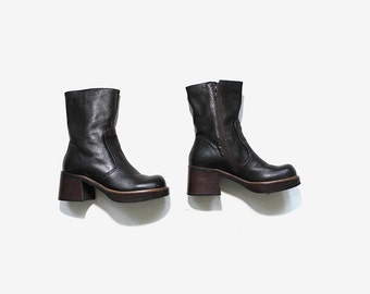 Vintage Ankle Boots 7 / Brown Leather Boots / Platform Ankle Boots / Chunky Boots / Ankle Boots Women