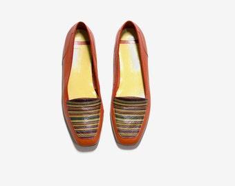 Vintage Leather Loafers 8 / Orange Leather Flats / Leather Slip Ons / Leather Glove Shoes / Leather Flats