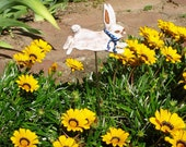 Pottery Rabbit Garden Stake -  Small White Bunny Perched on a Steel Rod - Whimsical Clay Yard Totem - Ceramic Gift for Rabbit - Garden Lover