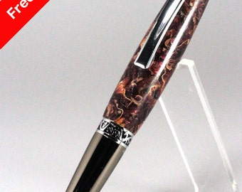 Handmade Rollerball Pen Potpourri Rose Petals Cast in Cranberry Acrylic Resin