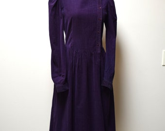 Vintage KATHRYN CONOVER/Oval Room Purple Pinstripe Corduroy Fitted Dress Size XS