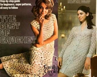 "1970s Crochet Patterns Book ""Best Of Crochet"" Lacy Crochet Dresses Cardigans Pantsuits Coats Tops Ponchos Hat Blouses and More"