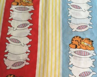 Vtg Garfield Twin Size Flat Sheet  - Burlington