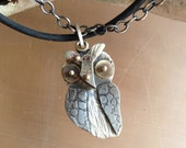 Owl Necklace, Whoo Do You Love, sterling silver, etched metal, 14k, watch parts