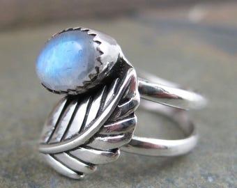 Blue Sheen Moonstone Fern Leaf - Sterling Ring size 6
