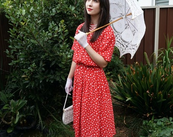 Vintage 80s Red and White Polka Dot Two Piece Blouse and Skirt Top and Bottom Set Suit Outfit Dress To Die For Australia