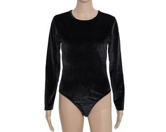 Black VELVET Long Sleeve Body Suit S | Vintage Velvet Leotard | Small Black Body