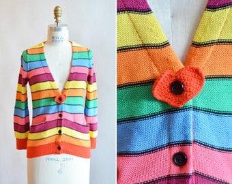 Vintage SONIA RYKIEL rainbow knit cardigan