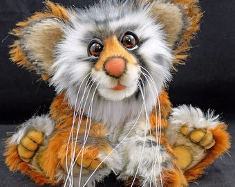 Nishok the Tiger Cub  By Bears of Bath  8 inches  Mohair and faux fur OOAK artist bear