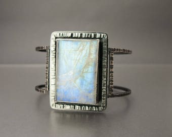 Rainbow Moonstone Sterling Silver Statement Cuff Bracelet - One of a Kind and Ready to Ship
