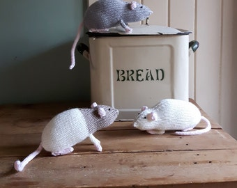 Rat knitting pattern - PDF - cute toy domestic rats cuddly beginners knit!
