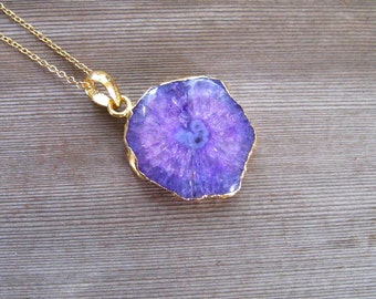 Purple Geode Necklace, Natural Stalactite Pendant, Geode Jewelry, 24 k Gold Vermiel,  Large Stone Necklace, Gift For Her