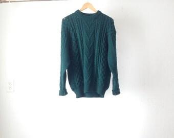 vintage GRUNGE hunter green forest green KURT cobain nirvana 90s SWEATER knit top men's vintage fall winter