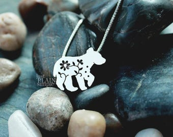 Floral Bear Pendant, sterling silver bear cub, bear necklace, wildflower, wildlife