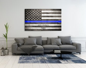 Police Officer Sign, Police Flag, Thin Blue Line Decor, Police Officer Gift, Gift For Officer