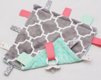 MINI Baby Ribbon Tag Blanket - Minky Binky Blankie - Gray Quatrefoil with Mint and Coral