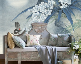 "Orchid Moon Night Wallpaper Vintage Oriental Butterfly Wall Decal Art Bedroom Living Room Blue White Wall Mural 55.5"" x 39.4"""