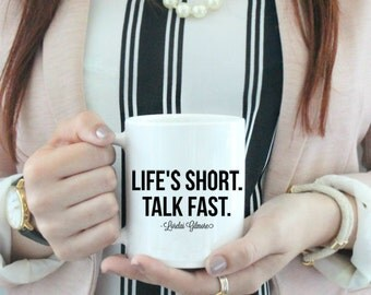Life's Short, Talk Fast Coffee Mug  / black and white coffee mug - ceramic - luke's diner - Gilmore Girls Rory - Lorelai coffee stars hollow