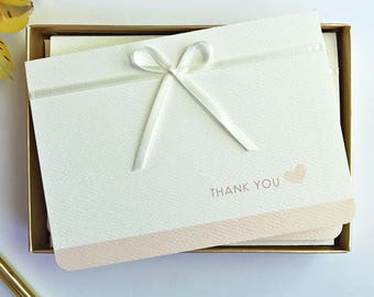 Baby Shower Thank You Cards - Blush Pink - Thank You Notes - Shower Thank You - 4Bar size Boxed Set 12 Cards