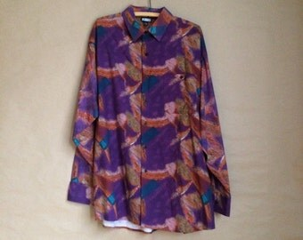 90's vintage color block paint splatter mens shirt / retro / button down rayon shirt / size L