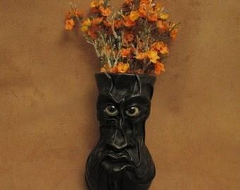"Grichels medium flower vase - ""Dluxoter"" 29349 - black leather with lemonade fish eyes"